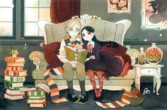 Una tarde de lectura entre amigos (ilustración de Riikka Auvinen)