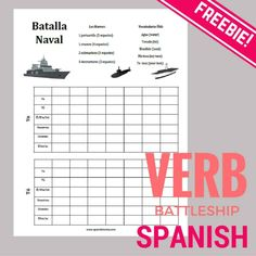 Free printables for playing Verb Battleship to practice conjugating verbs in Spanish Learn Spanish Free, How To Speak Spanish, Spanish 1, Spanish Grammar, Spanish Design, Spanish Games, Spanish Lessons, Spanish Worksheets, Spanish Activities