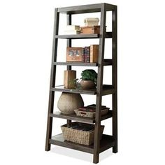 """Riverside Furniture Promenade  Canted Bookcase #84537. Riverside's """"Promenade"""" collection features hammered hardware corner plates and a Warm Cocoa finish for a rich, contemporary feel."""