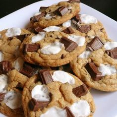 Marshmallow and chocolate chip cookies.