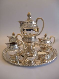Extraordinary Silver and Ivory Tea and Coffee Set | From a unique collection of antique and modern tea sets at https://www.1stdibs.com/furniture/dining-entertaining/tea-sets/