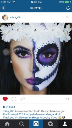 Day of the Dead makeup - Face - Halloween Halloween Sugar Skull, Visage Halloween, Up Halloween, Sugar Skull Halloween Costume, Halloween Makeup Sugar Skull, Halloween Costumes, Maquillage Sugar Skull, Sugar Skull Makeup, Skull Face Makeup
