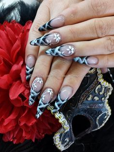 stiletto+nails+with+black+tips+and+one+stroke+and+freehand+nail+art