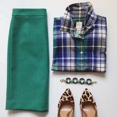 Plaid top, green pencil skirt, leopard shoes work outfit
