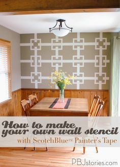 How to Make Your own Unique Wall Stencil with @ScotchBlue Painter's Tape   | #HomeofScotchBlue and #3MPartner