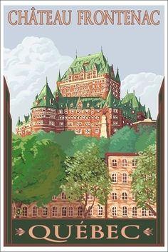 Quebec City, Canada - Chateau Frontenac - Lantern Press Artwork (Art Print Available) Poster Sport, Poster City, Poster Wall, Poster Prints, Framed Prints, Canvas Prints, Art Prints, Posters Canada, Vintage Travel Wedding