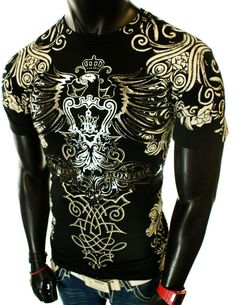 BLACK GRAPHIC UFC MMA CROSS EAGLE WINGS ANGEL ROYALTY CROWN T-SHIRT                                       $21.99