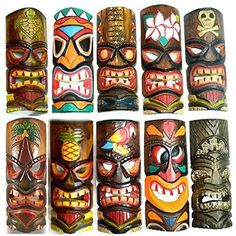 Set of 10 Hand Carved Polynesian Hawaiian Tiki Style Masks 12 in Tall Tiki Hawaii, Hawaiian Tiki, Tiki Maske, Tiki Faces, Tiki Head, Tiki Statues, Tiki Bar Decor, Tiki Totem, Tiki Art