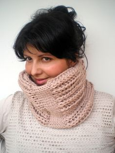 Natural Beige  J Cozy  Cowl Super Soft Wool by GiuliaKnit on Etsy, $49.00