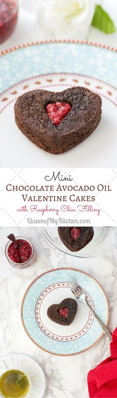 Mini Chocolate Avocado Oil Valentine Cakes - Individual serving, melt-in-your-mouth chocolate cakes. A fantastic, healthier alternative to the boxed chocolate candies typically given away on Valentine's Day. | QueenofMyKitchen.com #chocolatecake #valentinesday #glutenfree #glutenfreerecipes #paleo #grainfree