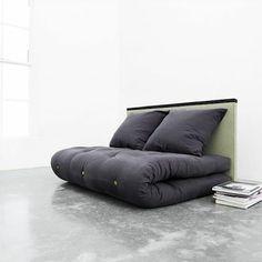 grey tatami sofa bed, light green headboard
