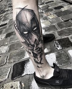 Deadpool tattoo by Inez Janiak