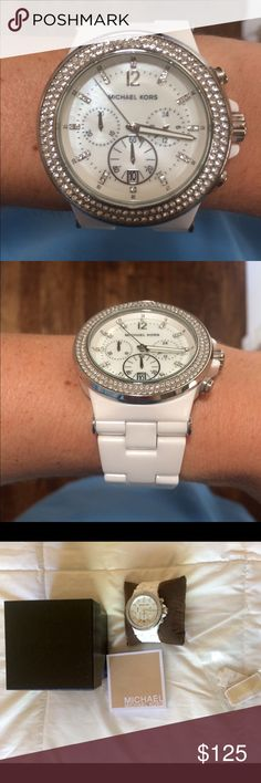 Michael Kors women's watch White and silver Michael Kors watch. Like new. No scratches. Still have the box, booklet, tags, and pieces from when I got it sized. Make me an offer  Michael Kors Accessories Watches