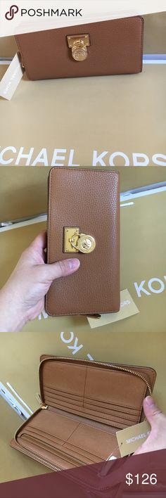 🍥mk wallet LG🍥 Acorn (light brown) color. Authenic brand new with tag. large full size zip round wallet, leather. Michael Kors Bags Wallets