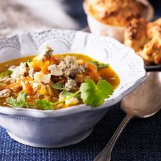 Grøn linsesuppe med blåskimmelost
