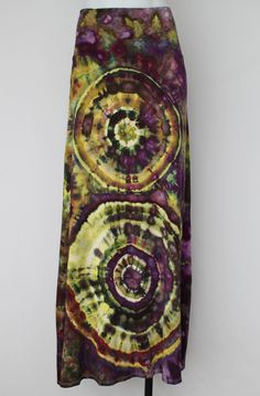 $68 - Tie dyed Maxi skirt size XL - Turkish Heirloom double mega eye Find this item on https://a-spoonful-of-colors.myshopify.com/