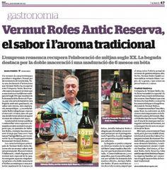 Resumen de prensa - Restaurant Vermuts Rofes Gastronomia, Summary, Printing Press, Wine Cellars, Restaurants