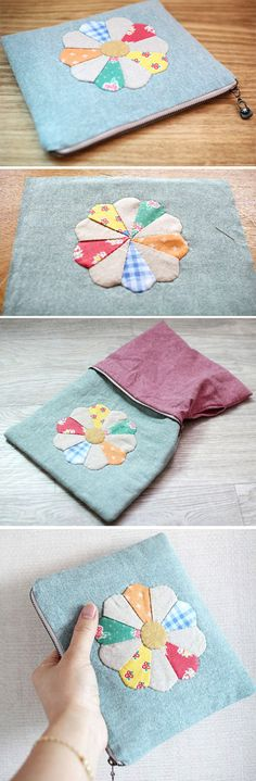 Patchwork Zipper Pouch Cosmetic Case Makeup Bag. DIY Tutorial in Pictures. http://www.handmadiya.com/2015/10/patchwork-zipper-pouch.html