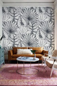 Contemporary Leaf Peel and Stick Wallpaper Palm Leaf Wallpaper, Botanical Wallpaper, Peel And Stick Wallpaper, Adhesive Wallpaper, Black And White Wallpaper, Contemporary Wallpaper, Wall Patterns, Easy Install, Wall Spaces