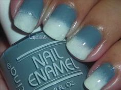 Quick Mani # 2 - Gray to White Reverse Gradient/Ombre (try w/ pink or nude and white, w/ less white, like a blended french tip?)