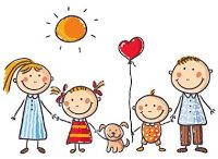 Illustration of Happy family with two children and a puppy vector art, clipart and stock vectors. Art Drawings For Kids, Drawing For Kids, Art For Kids, Family Vector, Family Clipart, Family Drawing, Stick Figures, Happy Family, Free Vector Art