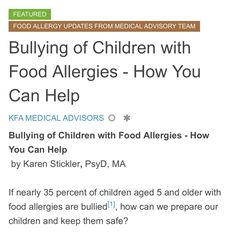 ‪Why children with food allergies may be at risk for bullying -from @kfatweets #foodallergies ‬