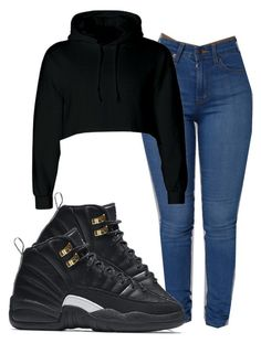 12add7153f  jordan12⚫ by baddiest-bish ❤ liked on Polyvore featuring NIKE Nike Store