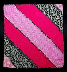 Lap Rag Quilt  Modern Pink and Black Diagonal by marylandquilter, $75.00