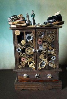 Gothic Witch Steampunk Dollhouse Miniature oak hutch