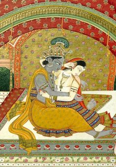 Krishna and Radha: Loveplay in Moonlight circa Guler. Opaque watercolor, gold, and silver on paper Mughal Miniature Paintings, Mughal Paintings, Indian Art Paintings, Indiana, Tantra, Señor Krishna, Indian Traditional Paintings, Southeast Asian Arts, Radha Krishna Pictures