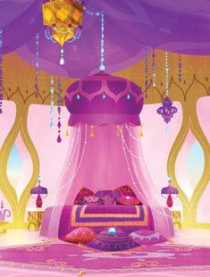 Shimmer's pink and purple bedroom is light and lovely and perfect for a genie in training!