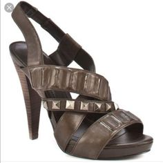Bcbg Generation Brown Leather Heels Bg- Ashlee