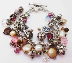 silver charm BRACELET with pearls and pink beads - jewelry - fashion accessories