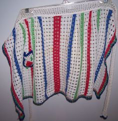 Vintage Crochet Apron in cream blue red and green by kkscloset, $12.99