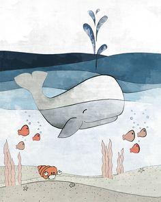 Whale Nursery Art Print - Navy Nautical Wall Decor, Childrens Room Art, Kids Wall Decor, Whale Drawing Ocean Kids Room