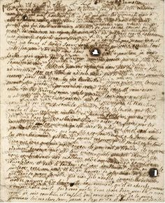 The last letter by Marie Antoinette. With tear holes... Here's a start of the English translation:    16th October, 4.30 A.M.    It is to you, my sister, that I write for the last time. I have just been condemned, not to a shameful death, for such is only for criminals, but to go and rejoin your brother. Innocent like him, I hope to show the same firmness in my last moments. I am calm, as one is when one's conscience reproaches one with nothing.
