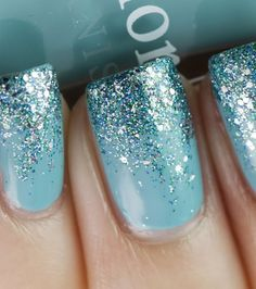 Acrylic Glitter Nail Design. I think this would be a cute winter idea!