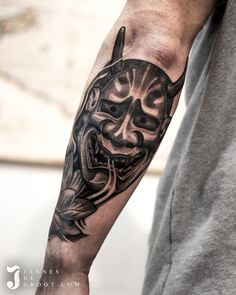 Realistic Hanya Mask Tattoo - Jannes de Groot Tattoo - Japanese Tattoo Hanya Mask Tattoo, Cool Tattoos, Tattoo Japanese, Skull, Photo And Video, Australia, Tv, Instagram, Check