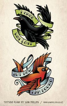 """Old crows"" and ""Young cardinals"" **Crow on my right and cardinal on my left side of my neck**"
