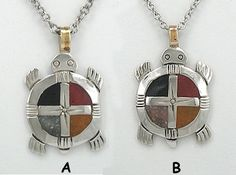 Native American Lakota Four Colors Medicine Wheel Turtle Pendant