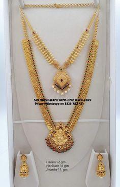 Long haaram with Lakshmi kasu hangings. Long haaram with lakshmi devi pendant. Gold Temple Jewellery, Gold Wedding Jewelry, Gold Jewellery Design, Handmade Jewellery, Bridal Jewelry, Gold Necklace Simple, Gold Jewelry Simple, Gold Earrings Designs, Gold Haram Designs
