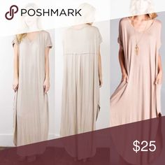 Chic maxi dress Your new favorite wardrobe staple- tan colored, v-neck, max- dress with side slits and pockets. Brand new. Never worn. Bought new on Poshmark and love it but I'm a tad short to pull it off (I'm 5'5). This dress deserves to be rocked this summer! Dresses Maxi