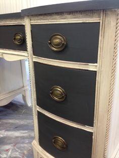 Annie Sloan Graphite and Old White with Dark Furniture Wax