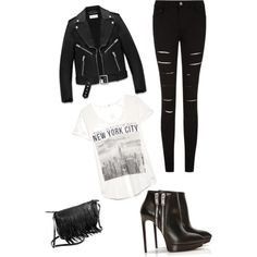 A fashion look from March 2015 featuring MANGO t-shirts, Yves Saint Laurent jackets and Yves Saint Laurent ankle booties. Browse and shop related looks.