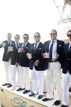 Hamptons wedding. Navy and white (and nautical-themed wedding) wedding reflected in the attire worn in the groomsmen.