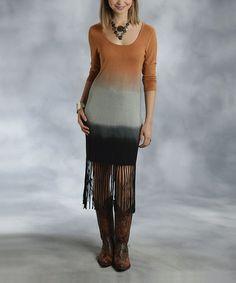Look what I found on #zulily! Brown & Black Dip-Dye Fringe Dress - Women by Roper #zulilyfinds