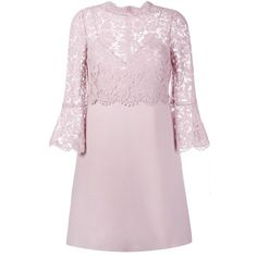 Valentino Valentino Lace Crepe Couture Dress (114 970 UAH) ❤ liked on Polyvore featuring dresses, 3/4 sleeve dress, zip back dress, pink circle skirt, 3/4 sleeve lace dress and three quarter sleeve lace dress