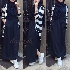 Stylish Hijab, Casual Hijab Outfit, Hijab Chic, Street Hijab Fashion, Abaya Fashion, Fashion Dresses, Islamic Fashion, Muslim Fashion, Modest Outfits