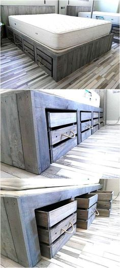 Rustic Look Giant Pallet Bed with Storage - Pallet Bed . Rustic look giant pallet bed with storage Rustic Bedroom Furniture, Home Furniture, Bedroom Rustic, Furniture Ideas, Diy Bedroom, Furniture Stores, Furniture Design, Cheap Furniture, Luxury Furniture