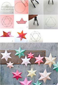 origami-Noel-étoiles-Noel-papier-multicolore-déco-fenêtre